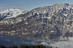 View from Flumserberg (Thomas Mülchi) Tags: 2017 appenzellalps ch cantonofstgallen churfirstenmountainrange flumserberg lakewalen landscape mountain mountains switzerland tannenbodenalp weather blue bluesky clear clearsky foggy sky snow snowy sunny tree trees winter quarten sanktgallen