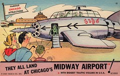 Midway Airport postcard (EllenJo) Tags: curtteichpostcard curtteich chicago linenpostcard vintage chicagoillinois thesewerebobs collectibles postcard midcentury midwayairport theyalllandatmidwayairport airport aliens ufo funny silly famouschicagopostcards famouschicagoattractions famouschicago spacemen spacecraft area51 1950s withbiggesttrafficvolumeinusa