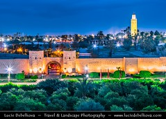 Morocco - Marrakech - UNESCO -  Iconic Minater of Koutoubia Mosque and historical city walls at Dusk - Twilight - Blue Hour - Night (© Lucie Debelkova / www.luciedebelkova.com) Tags: koutoubiamosque kutubiyyamosque marrakech marrakesh morocco maroko moroccan المغرب‎ almaġrib maroc kingdomofmorocco maghreb berber maġrib ma northafrica africa arabic arab arabworld world exploration trip vacation holiday place destination location journey tour touring tourism tourist travel traveling visit visiting sight sightseeing wonderful fantastic awesome stunning beautiful breathtaking incredible lovely nice best perfect dusk twilight bluehour night wwwluciedebelkovacom luciedebelkova luciedebelkovaphotography