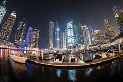 Dubai, United Arab Emirates - Dubai Marina (GlobeTrotter 2000) Tags: dubai marina uae unitedarabemirates boat cityscape shycraper tourism tower travel visit yatcht panorama panoramic fisheye wide angle