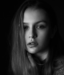 Sofia (ivankopchenov) Tags: girl portrait cute canon beautiful natural model mood people face dark fineart soft shadow noir light eos young hair warm sensual gentle cinematic grain depthoffield art black eyes blackandwhite white monochrome fashion studio naturallight reflection