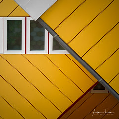Yellow Submarine II (Alec Lux) Tags: pietblom rotterdam architecture building city cube cubism design detail details fragment fragments geometric geometry hexagon holland house houses kaleidoscope kubuswoningen netherlands structure urban water