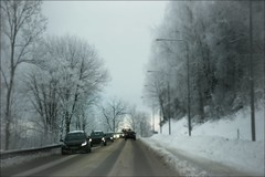 Winter Traffic (*Kicki*) Tags: winter traffic snow cars road trees ncka sweden vinter trafik bilar väg stockholm nordic sky car tree blur bus