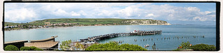 Swanage Bay and Pier in May 2017, showing Old Harry Rocks, Swanage, Dorset. England.