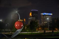 Downtown Minneapolis skyline from the Sculpture Garden (schwerdf) Tags: downtownminneapolisskyline hdr lowryhill minneapolis minnesota nighttime sculpturegarden spoonbridgeandcherry