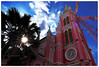 Pink Church - 2080959 (willfire) Tags: wildfire singapore street vietnam blue sky vietnamese outdoor sunny spring summer hcmc hochiminh daily life tourism lively vibrant daytime