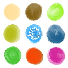 A set of round watercolor stains (Hebstreits) Tags: abstract art artistic background blue bright brush color colorful decoration decorative design drawing hand illustration ink isolated paint paper pink set shape splash splatter spot stain texture vector water watercolor watercolour white