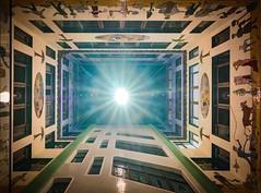 light and colour - Licht und Farbe (ralfkai41) Tags: nacht leipzig kunst art tower nightshot speckshof nachtfotografie night city turm architektur architecture oberlicht lichthof wandgemälde
