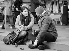 a spot of lunch in monochrome (digitris) Tags: streetphotography candid street city people she him woman man lunch stairs market amsterdam digitris digitri monochrome bw blackandwhite panasonic gx80 gx85 lumix g425f17