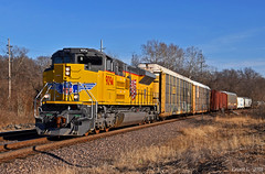 """Westbound Auto Train in Independence, MO (""""Righteous"""" Grant G.) Tags: up union pacific railroad railway locomotive emd power train trains west westbound auto manifest freight kansas city missouri"""