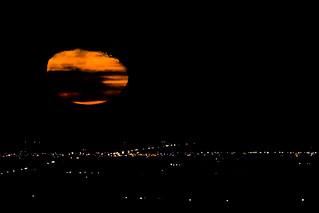 Orange Partly Cloudy Moonrise Over El Centro, California