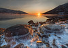 Arctic Dusk - Norway (Mr F1) Tags: arctic norway europe johnfanning wet froze dusk sunset light roicks round closeup snow ice sun red colourful nature outdoors wild desolate remote mountain fjord horizon mist water ocean sea