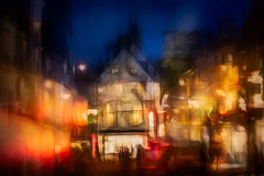French Row, St Albans (RCARCARCA) Tags: marketplace blur cathedral photoartistry 100400mmmkiil canon abbey orange red lights blue bluehour stalbans evening 5diii jackwills frenchrow windows light streetlights