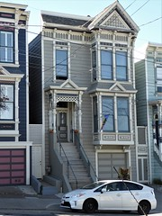 San Francisco, CA, Noe Valley, Victorian House (Mary Warren 13.5+ Million Views) Tags: sanfranciscoca noevalley architecture building house residence historic victorian car stairs bowwindow gray