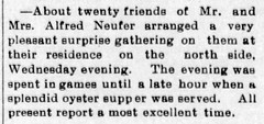 1897 - surprise party for Alfred Nufer - Enquirer - 26 Nov 1897