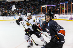 """Kansas City Mavericks vs. Indy Fuel, February 17, 2018, Silverstein Eye Centers Arena, Independence, Missouri.  Photo: © John Howe / Howe Creative Photography, all rights reserved 2018 • <a style=""""font-size:0.8em;"""" href=""""http://www.flickr.com/photos/134016632@N02/39490832555/"""" target=""""_blank"""">View on Flickr</a>"""