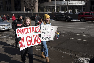 High school student protest march against gun violence and for gun law reform