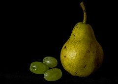 Half a pair of pears (OzzRod) Tags: pentax k1 smcpentaxdfa100mmf28macro stilllife food fruit pear grapes black closeup pentaxart dailyinfebruary2018
