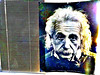 Albert E with sun-bleached hair (byzantiumbooks) Tags: einstein poster blinds metarte