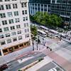 Trax at Gallivan Plaza (LionessLeesha) Tags: train commuter lightrail rail corner city traffic platform transit transporation publictransportation buildings viewfromabove