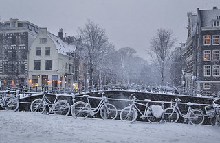 Amsterdam the city of bikes in the winter