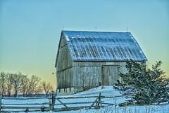 Wintertime Blues (gabi-h) Tags: blue snow barn winter fence cedarrailfence gabih princeedwardcounty january rural rustic farm ontariofarms tinroof architecture