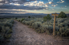 Trader's Trail (donnieking1811) Tags: newmexico taos landscape outdoors trees bushes shrubs trail sign mountains sky clouds hdr canon 60d lightroom photomatixpro