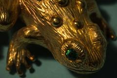 Green-Eyed Frog (San Francisco Gal) Tags: frog pin metal golden greeneyed shadow macro lessthananinch