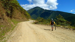 Flat on the Death Road (Eye of Brice Retailleau) Tags: chemin colourful composition countryside earth extérieur local outdoor path people route rural scenery scenic street road travel angle perspective landscape life south latina america bolivia yungas