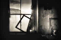 Room with a View (John Mee Photography) Tags: black white bandw bw mono monotone blackandwhite cottage house room window frame picture pictureframe jug bottle ancient retro old oldtimes timespast abandoned ireland mayo west scene mountain roomwithaview peelingpaint