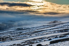 Pennine Winter Jan 2018 100 - Wintry in the valley above Digley (Mark Schofield @ JB Schofield) Tags: south pennines pennineway peat peak district digley holmemoss holme wessenden wessendenvalley wessendenhead westnab west huddersfield meltham yorkshire yorkshirewater reservoir transmitter mast overflow snow winter wintry icy sunset landscape canon eos 5dmk4 reflections cloud fog january marsden moors moorland hills valley