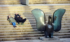 Touristing is exhausting (Reva G) Tags: vancouver downtown vancouverartgallery robsonsquare tourist statue sculpture steps stairs people relax tired person street