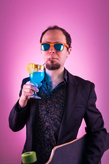 Jeune cadre dynamique (urbartho) Tags: studio boire blue pink skate longboard beard sunglasses cocktail