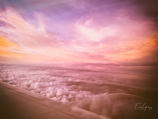 Flying - clouds - double exposure