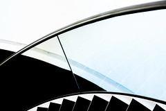 Fundatie (Maerten Prins) Tags: nederland netherlands zwolle museum fundatie line lines curve black curves white abstract composition minimal rhythm monochrome blackandwhite reflection stair stairs stairwell glass indoor geometry geometric contrast architecture