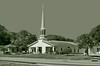 DOES ANYONE KNOW THE LOCATION OF THIS CHURCH ? ? ? ? ? ? (gg1electrice60) Tags: church houseofworship steeple trees entrance florida fl unitedstates usa us america architecture car house signs bushes palmtrees road street pavement shrubs cross pitchedroof pinellascounty