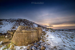 Hag's Chair Loughcrew in snow (mythicalireland) Tags: snow snowfall winter wintry ice frost hags chair loughcrew cairn t carnbane east meath ireland monument cairns stones megalithic neolithic kerb stone sun sunset halo rays light twilight evening snowy