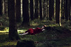 An Eternal Middle (Ruby Hyde) Tags: red sun sunlight natural light conceptual fineart fineartphotography girl woman dress sleep dream woods forest magic slumber surreal surrealism warm tones