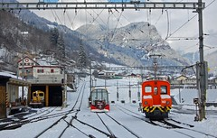 Poschiavo - Rhaetian Railways (paul_braybrook) Tags: poschiavo switzerland swissrailways narrowgauge metregauge snow mountains landscape railway trains rhaetischebahn
