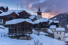 Grimentz (Switzerland) (christian.rey) Tags: grimentz anniviers val village valaisan valais wallis swiss switzerland suisse mazots église hiver winter neige snow schnee sony a77 18135 dorf soir