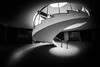 guiding light / curling curves (Özgür Gürgey) Tags: 12mm 2018 archaeologymuseums bw d750 nikon samyang architecture fisheye grainy interior light shadow spiral stairs istanbul