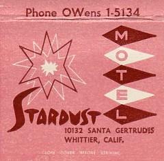 Stardust Motel Whittier, Calif. Matchbook 1 (hmdavid) Tags: vintage matchbook matchcover midcentury art illustration 1950s advertising stardust motel whittier