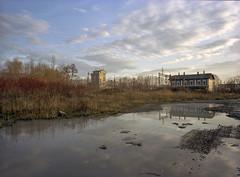 Bielsko-Biała, Poland. (wojszyca) Tags: fuji fujica gsw680iii 6x8 120 mediumformat fujinon sw 65mm kodak portra 160 gossen lunaprosbc epson v800 city urban landscape puddle reflection sky