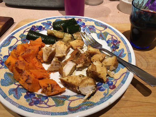 Chicken zuke and sweet potatoes. ( potatoes baked in crock!) my attempt @ low carb. Lol