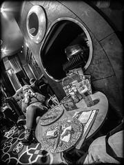 In a fish eye world . . . (CWhatPhotos) Tags: cwhatphotos woman female girl drinking beer milf pose seated portrait black white mono monochrome ale tint side view face pint glass pub inn bar drink olympus epl5 samyang fisheye prime lens pictures picture photographs photograph pic pics foto fotos image images with that have which contain durham city wetherspoons public house dr martens patent leather 1460 boots docs dms marten foot wear