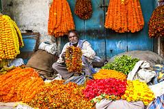 Flower market (Dick Verton ( more than 12.000.000 visitors )) Tags: flowermarket man india varanasi asia traveling sit people sitting seated