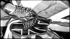 Dr Martens, Union Jack. (CWhatPhotos) Tags: art black white mono monochrome photographs photograph pics pictures pic picture image images foto fotos photography artistic cwhatphotos that have which with contain olympus penf pen f micro four thirds 43 camera union jack boot boots pascal 1460 adult youth dm dms docs doc maten martens dr drmartens airwair bouncing sole yellow sttching foot wear approach
