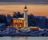 Lighthouse (Paul Rioux) Tags: parks canada bc victoria colwood westshore fortroddhill fisgard lighthouse old building architecture outdoor seascape seashore seaside waterfront calm reflection lights beach morning sunrise daybreak snow winter cold water prioux tree sky