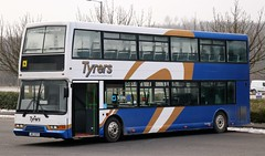 Tyrers Coaches, Adlington  JRZ 3272 on layover at The Macron Stadium in Horwich. (Gobbiner) Tags: eastlancs jrz3272 tyrerscoaches lolyne 667 nct adlington y667dra nottinghamcitytransport trident dennis elcb