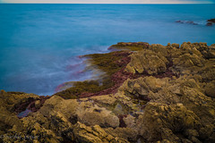 blue sea on red rock (harakis picture) Tags: france frenchriviera dazur antibes garoupe sony a7 blue red
